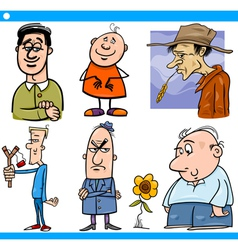 Men characters set cartoon vector
