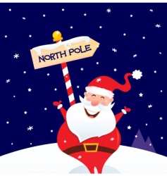 Christmas santa on north pole vector