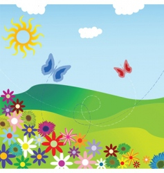 Flowers and field vector
