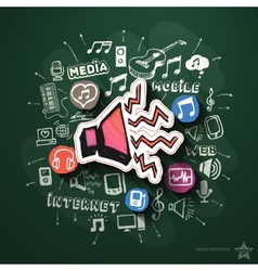 Music and entertainment collage with icons on vector