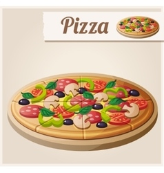 Pizza detailed icon vector