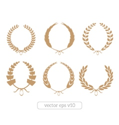 Gold laurel wreaths collection vector