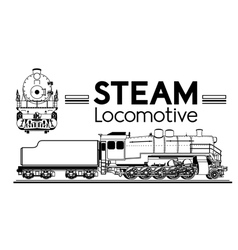 Line drawing steam locomotive vector