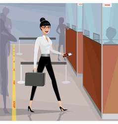 Business woman pass the passport control vector