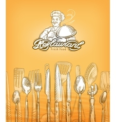 Restaurant or cooking cutlery sketch vector