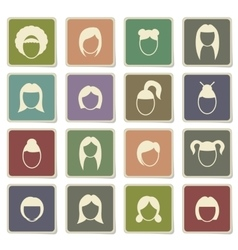 Woman hairstyle simply icons vector