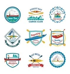 Rafting canoeing and kayak emblems set vector