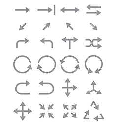 Gray arrows icons set vector