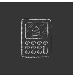 Calculator with house on display drawn in chalk vector