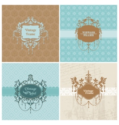 Set of retro cards with photo frame vector