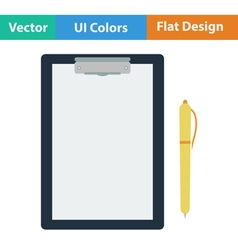 Flat design icon of tablet and pen vector