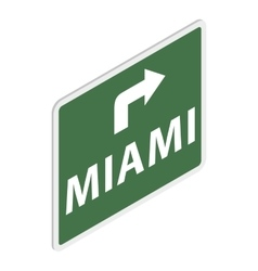 Road sign with miami icon isometric 3d style vector