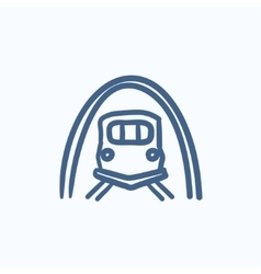 Railway tunnel sketch icon vector