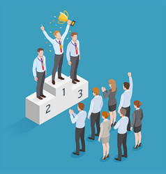 business people isometric concept design winner vector image vector image