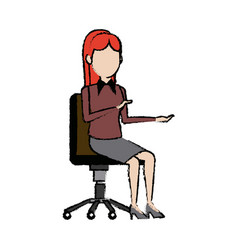 Business woman person sitting office chair vector