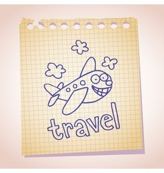 cartoon airplane mascot note paper sketch doodle vector image