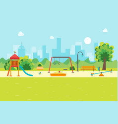 cartoon urban park kids playground vector image