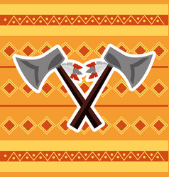 cross axes weapon tool native american vector image