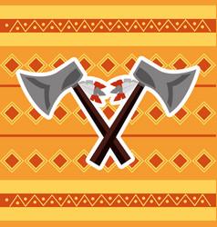 cross axes weapon tool native american vector image vector image