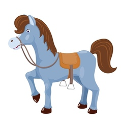 Cute horse with saddle vector image vector image