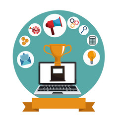 Digital marketing laptop trophy media vector