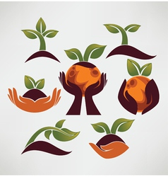 Earth in your hands ecological symbols and signs vector image
