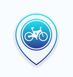 Electric bike icon on map pointer vector