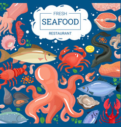 fresh seafood restaurant background vector image vector image