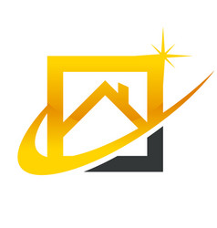 Gold real estate house roof icon vector