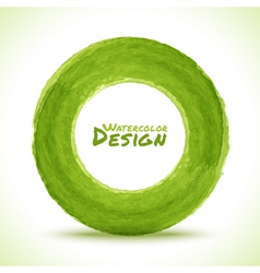 Hand drawn watercolor green circle design element vector image