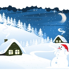 Houses and snowman vector image vector image
