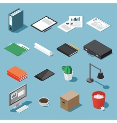 Isometric desk equipment set vector image vector image
