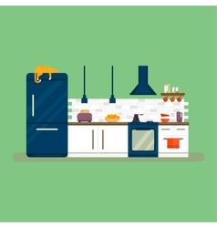 Kitchen and furniture interior flat style vector image vector image