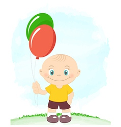 Little boy with toy balloons vector