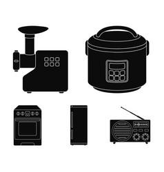 Multivarka refrigerator meat grinder gas stove vector