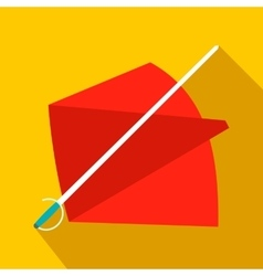 Red cape and sword icon flat style vector image
