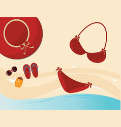 Red fashion female accessories vector