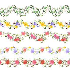 romantic floral set of seamless borders with vector image