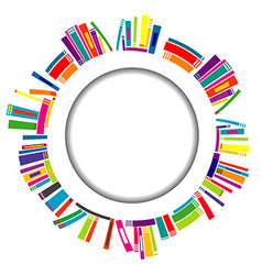 Round frame with books vector