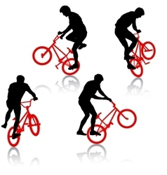 Set silhouette of a cyclist male performing vector image vector image