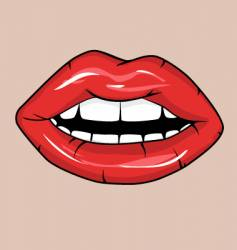 sexy red glossy lips vector image vector image