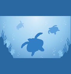 Silhouette of turtle on blue sea landscape vector