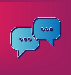 Speech bubbles sign blue 3d printed icon vector