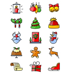 thin simply Christmas icons set vector image