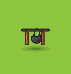 Tourist pot bowl isolated for cooking camping vector