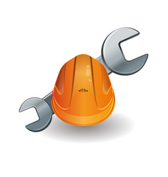 working hard hat and wrench vector image