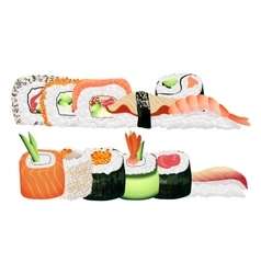 Japanese seafood sushi rolls group healthy asian vector