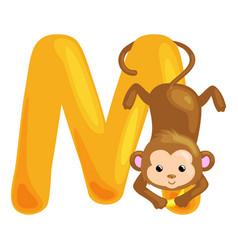 animals alphabet for kids fish letter m cartoon vector image
