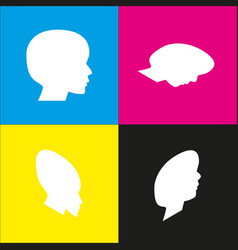 people head sign white icon with vector image