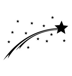 comet and stars on white vector image